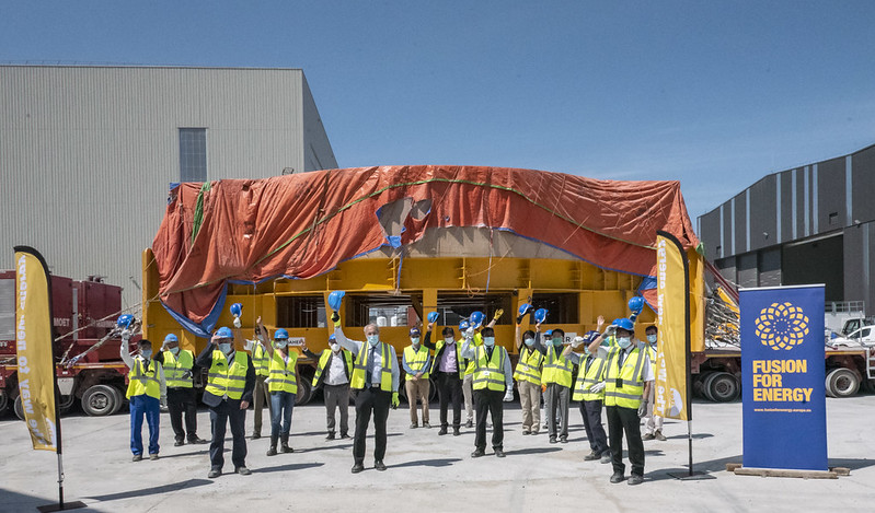 Representatives of F4E, ITER Organization welcoming the sixth Poloidal Field coil on-site, ITER site, Cadarache, June 2020 (c) F4E_ITER ORG.jpg